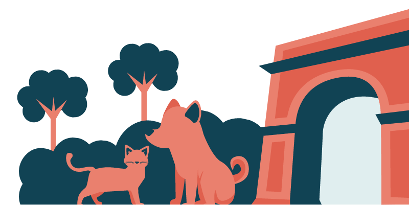 Dog, Cat, and Arch